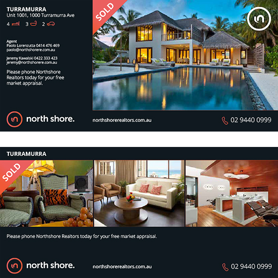 Real Estate Marketing Print Materials Website Blue